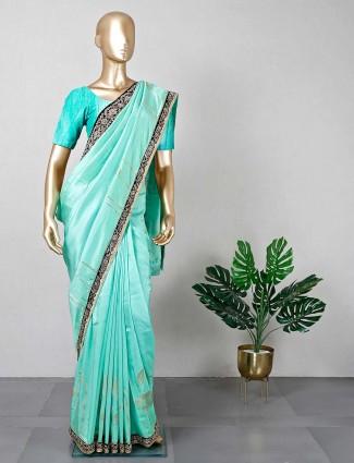 Green georgette saree for festive wear