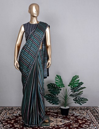Green gorgeous wedding event saree in satin crepe with ready made blouse