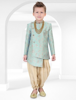 Green hue cotton silk fabric boys indo western for party