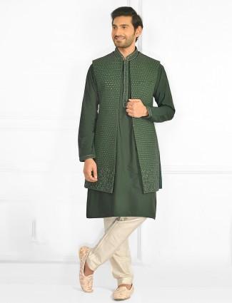Green hue mens waistcoat set with sequins details