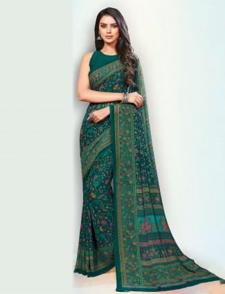 Green hue pretty festive saree in georgette