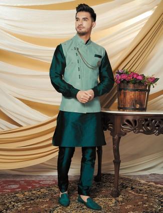 Green hue raw silk printed pattern waistcoat set