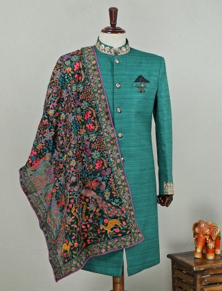 Green hue silk indo western for wedding function