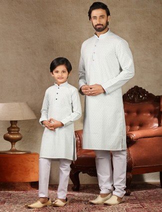 Green lakhnavi thread work kurta suit for father and son