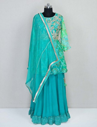 Green lehenga style salwar kameez for festives