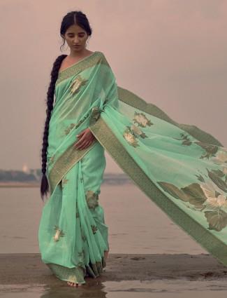 Green linen reception wear saree