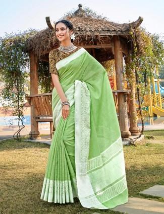 Green linen saree design for festival