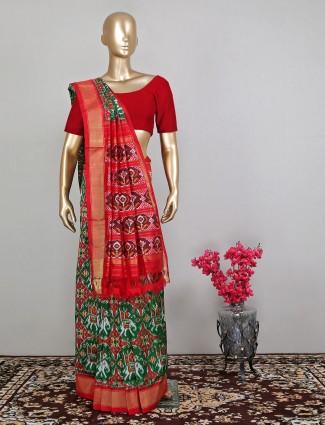 Green lovely wedding saree in patola silk