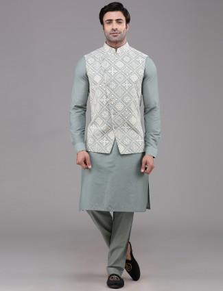 Green lucknowi thread woven silk waistcoat set