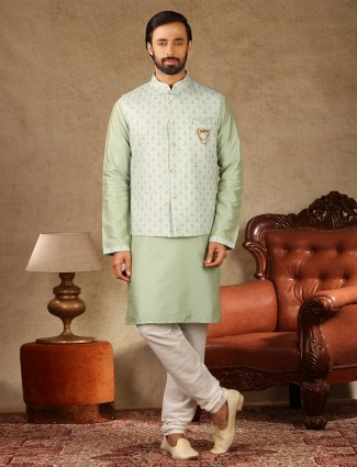 Green mens raw silk waistcoat set