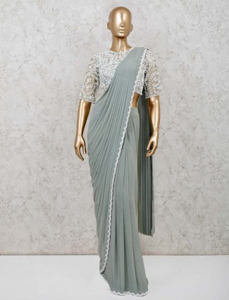 Green net one minute wear saree for wedding