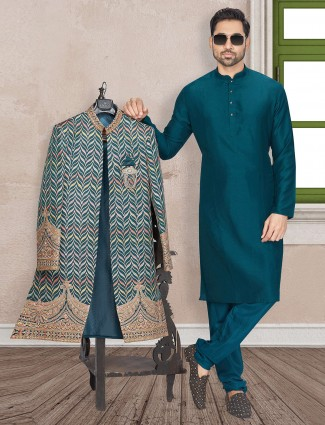 Green open jacket style terry rayon indo western