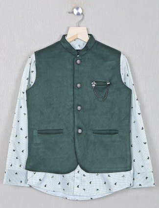 Green party wear waistcoat for boys in cotton fabric