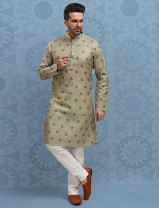 Green printed cotton festive wear kurta suit