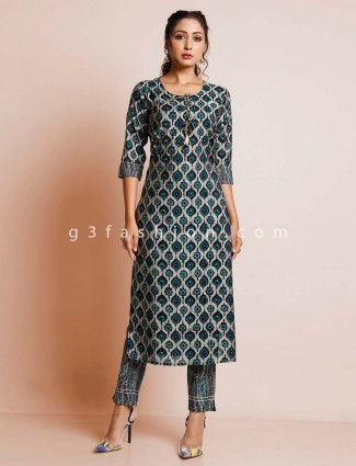 Green printed cotton suit for women