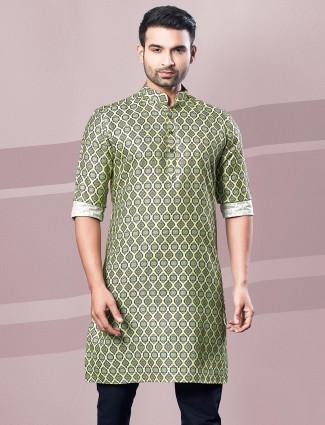Green printed mens festive kurta