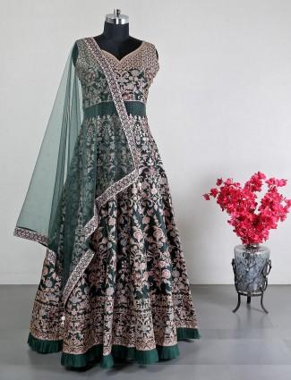 Green raw silk anarkali suit for wedding