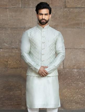 Green raw silk mens waistcoat set wedding wear