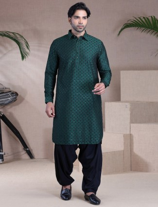 Green raw silk pathani suit for men