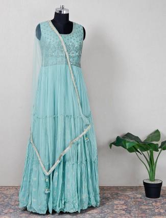 Green raw silk wedding wear anarkali suit