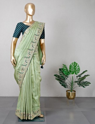 Green satin saree for women