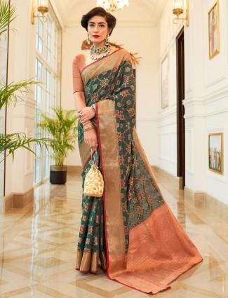 Green semi banarasi silk saree for wedding days