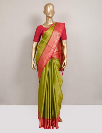 Green semi silk saree with zari touch