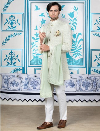 Green silk indo western for wedding function