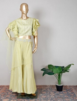 Green silk palazzo suit for wedding