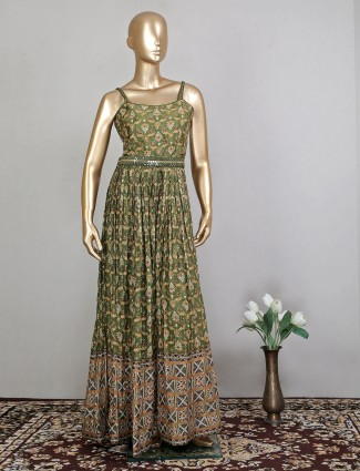 Green silk party floor lenght dress for party wear