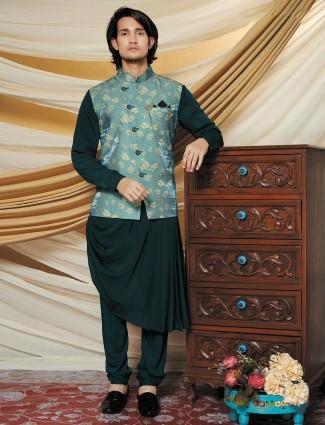Green silk party wear waistcoat set for men
