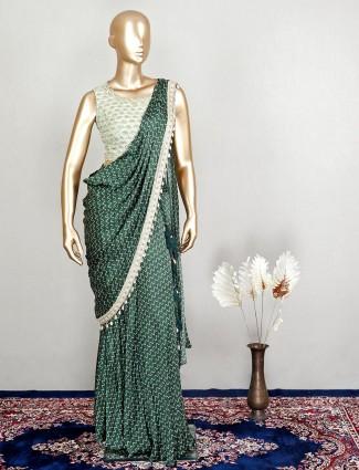 Green silk ready to wear wedding wear saree