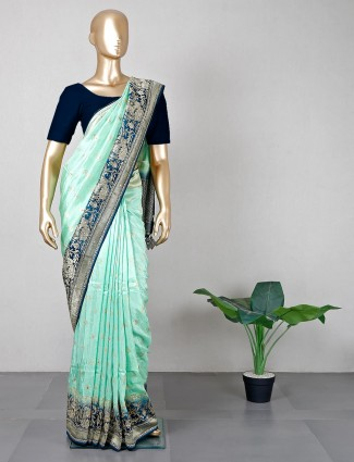 Green silk sari for wedding sessions
