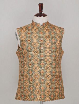 Green silk waistcoat for mens