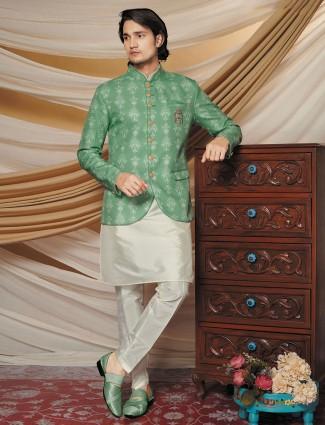 Green silk waistcoat set for parties