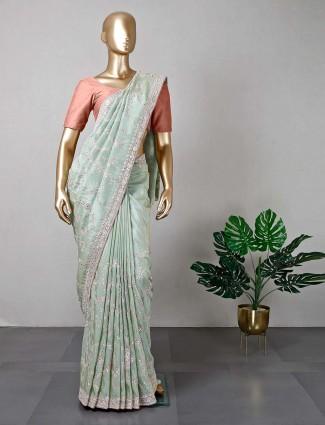 Green silk wedding saree for women