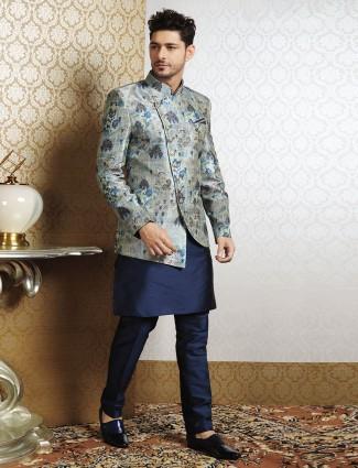 Green silk work waistcoat set