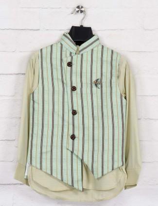 Green stripe jute stand collar waistcoat set