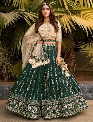 Green wedding functions georgette lehenga choli