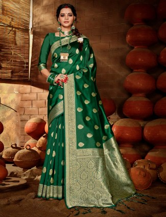 Green wedding wear banarasi silk sari