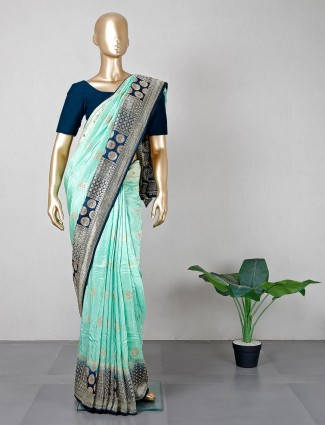 Green wedding wear silk saree for women