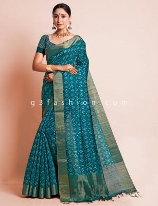 Green wedding wear south silk sari