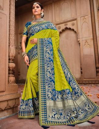 Green yellow shaded dola silk wedding wear saree