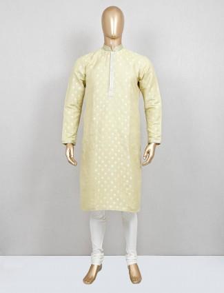 Green zari woven cotton silk kurta suit