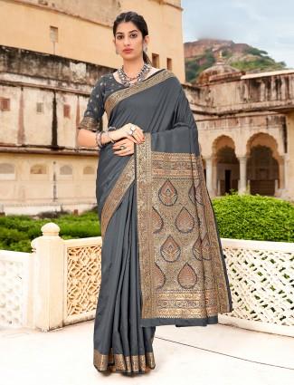 Grey amazing color silk wedding saree