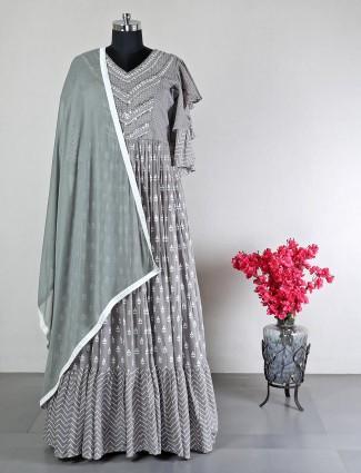 Grey anarkali suit for cotton silk