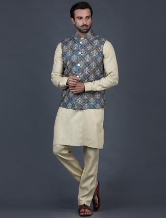 Grey and beige thread woven cotton silk waistcoat set