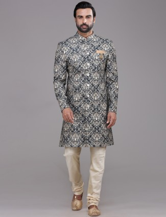 Grey and beige wedding wear indo western