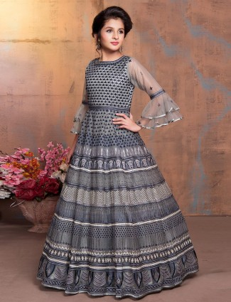 Grey and clue thread woven anarkali suit