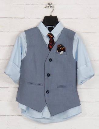 Grey and sky solid terry rayon waistcoat